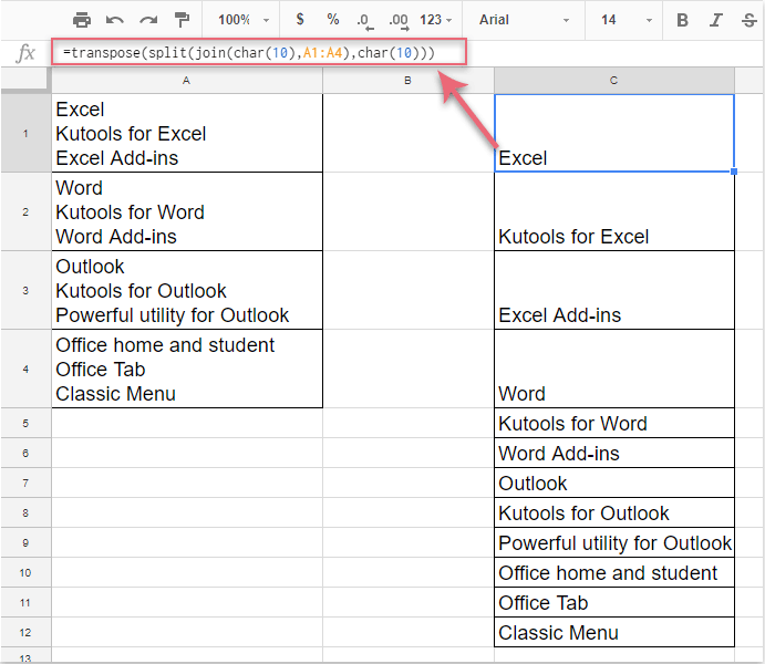 how to split a cell with line break in excel