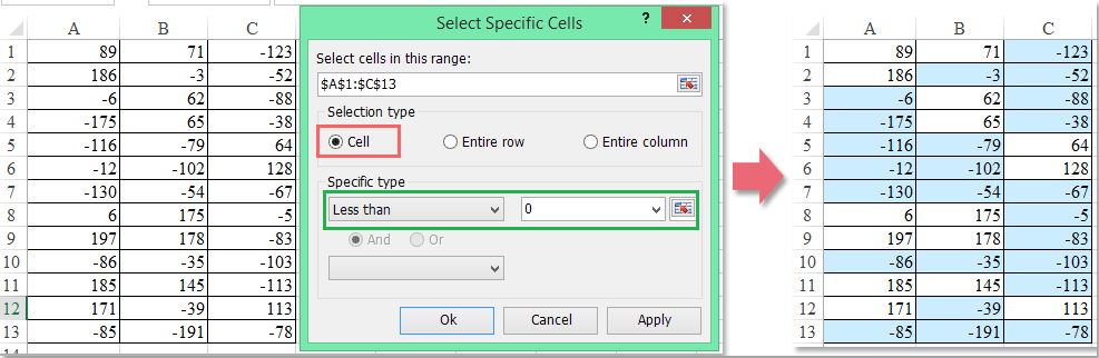 how to delete negative numbers in excel