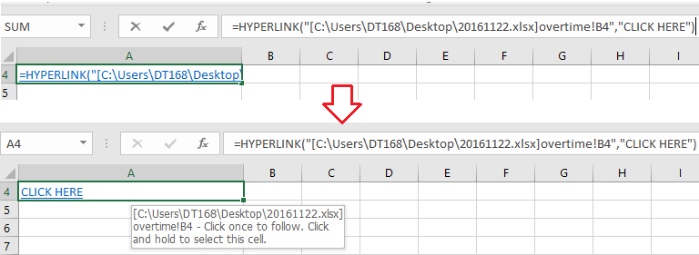 how to quickly create a hyperlink to specific worksheet in another workbook