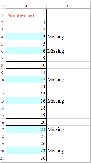 doc identify missing numbers 1