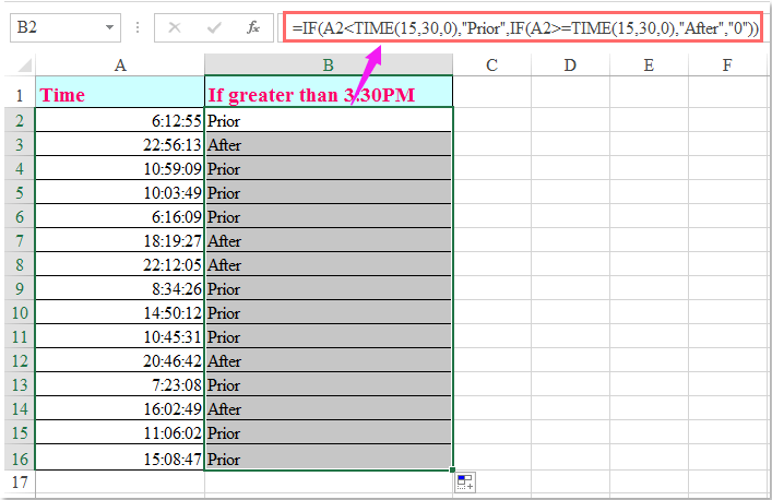 how to use if formula in excel for time