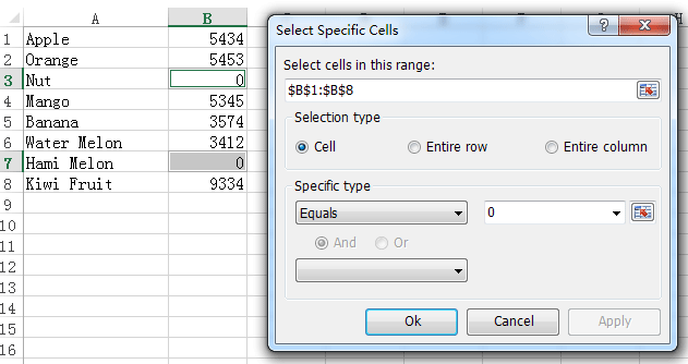 doc select specific cells