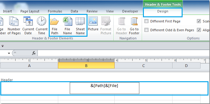 How to insert file name or path into cell / header or footer in Excel?