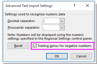 how to put negative sign in excel