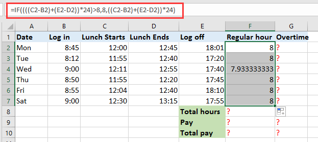 how to quickly calculate the overtime and payment in excel