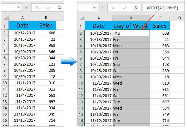 how to put days of the week in excel
