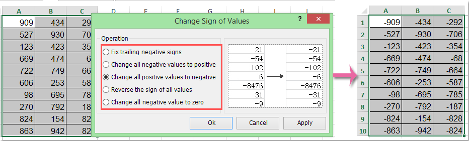 How to count / sum only positive or negative numbers in Excel?