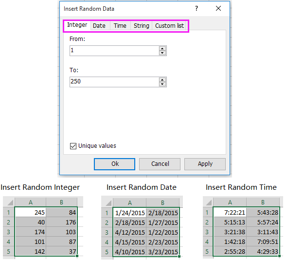 excel addin tool for generate random integers dates times strings custom lits
