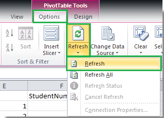 Auto updating pivot table