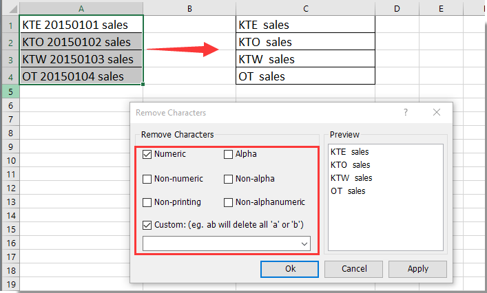 how to remove text before or after a specific character in excel?
