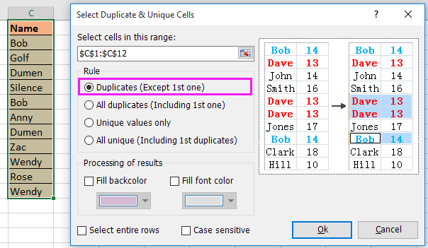 doc remove duplicate keep one 5