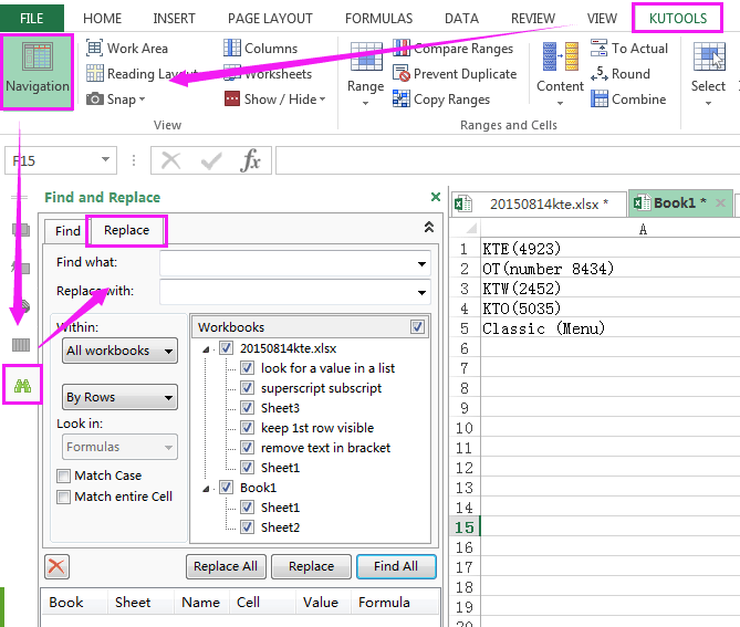how to search text in excel