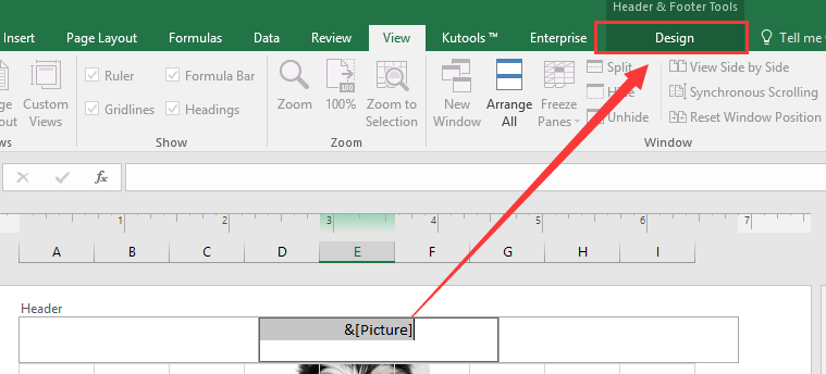how to get image in header excel