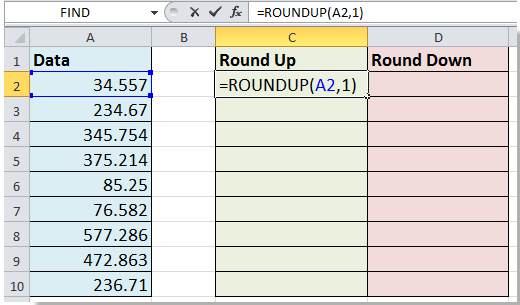 how to use roundup in excel