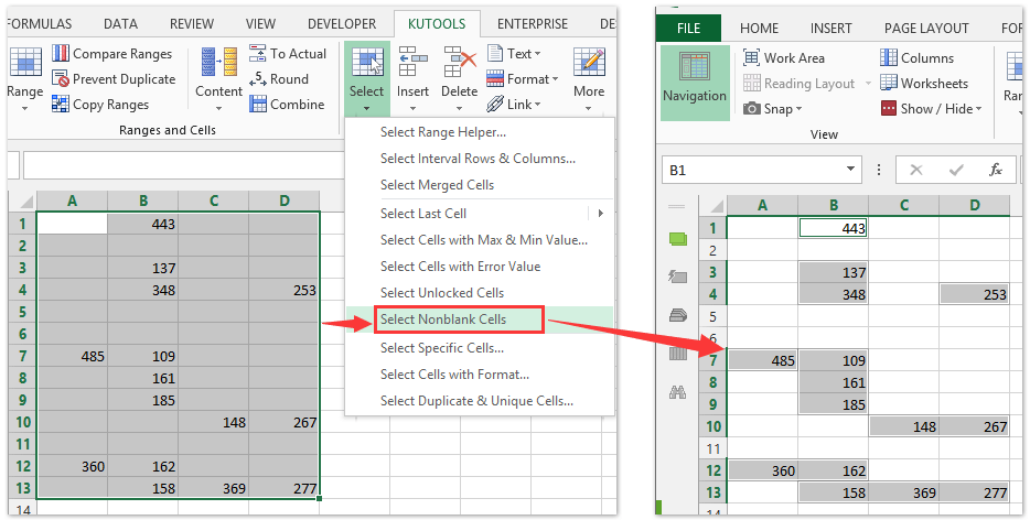 excel how to make cells blank