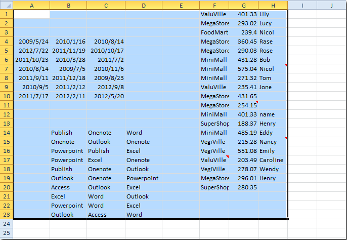How to select used cells and range in Excel quickly?