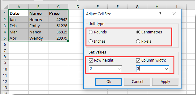 doc set cell size in cm 5