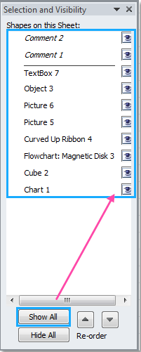 How to show or hide all objects pictureschartsshapescomments doc show hide objects3 ccuart Choice Image