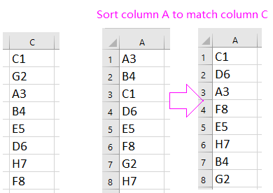 doc sort match to another column 1