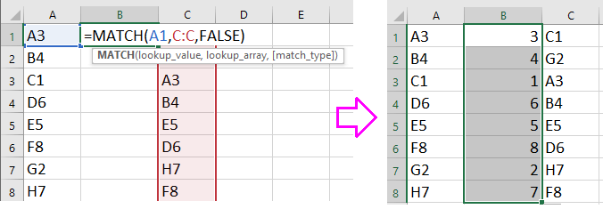 doc sort match to another column 2