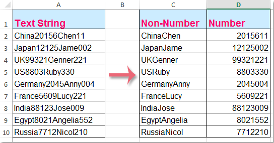 how to split    separate alphanumeric strings into two
