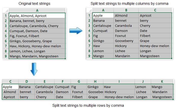 doc split text to rows columns 10