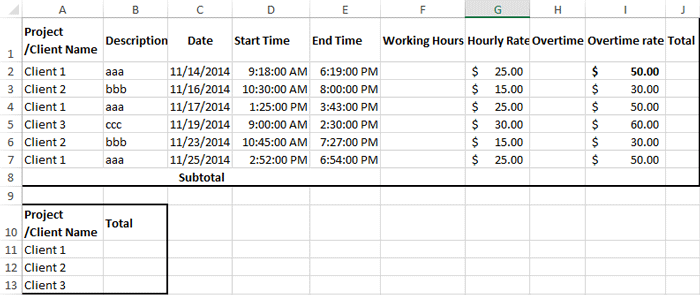 How to create billable hours template in excel for Template to calculate hours worked