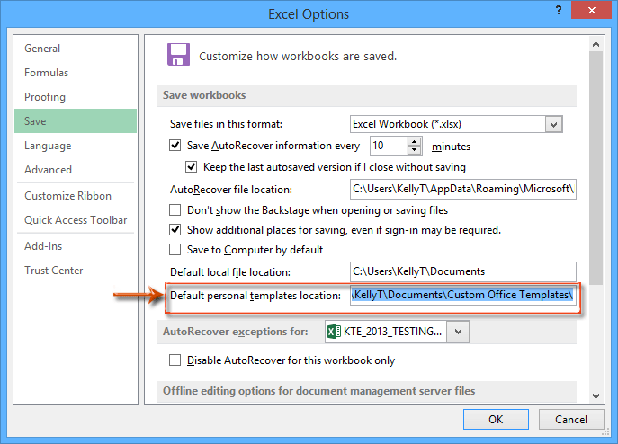 How to find and change default save location of excel templates doc template default save location 1 toneelgroepblik Images