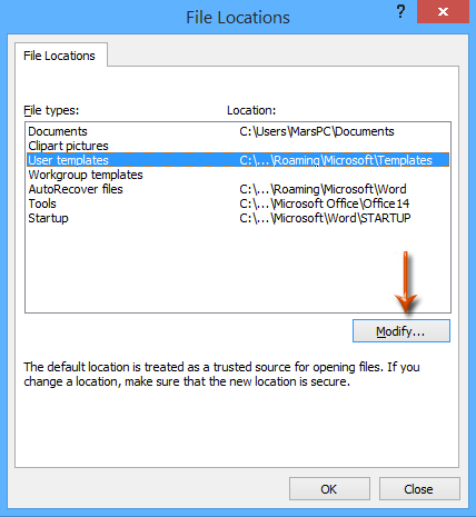 How to find and change default save location of excel templates doc template default save location 3 toneelgroepblik Gallery