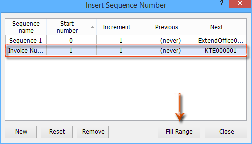 No Matter In Which Workbook You Apply This Insert Sequence Number Feature,  It Will Generate An Invoice Number That Is 1 Bigger Than The Last Time You  Apply ...  How To Generate An Invoice