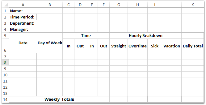 how to do a timesheet in excel