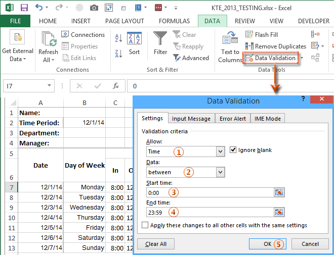 make timesheet in excel