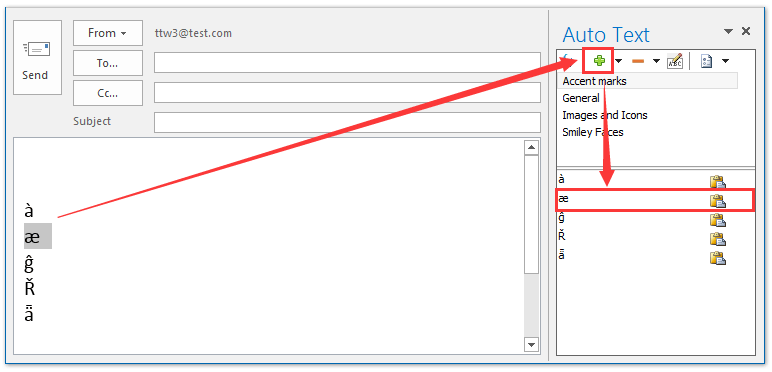 How to insert add accent marks in Outlook email body