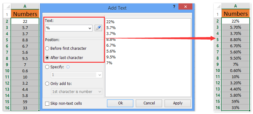How to format chart axis to percentage in excel ad add text percentage sign ccuart Gallery