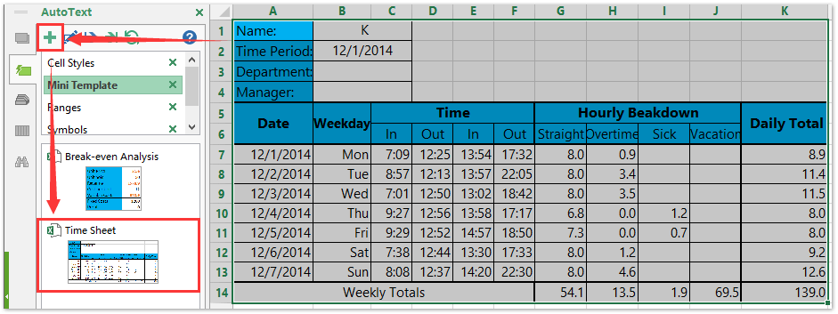 Excel Time Sheet
