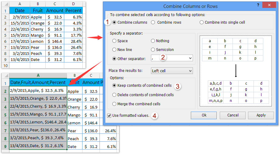 quotation format in excel