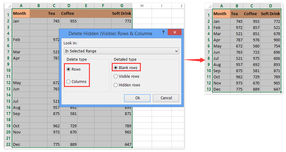 ad delete blank rows columns 1