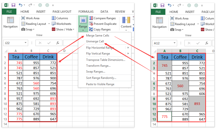 how to remove or split all merged cells in excel