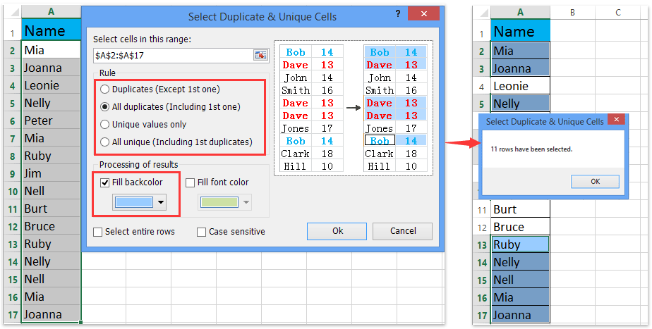 ad select duplicate unique values 2