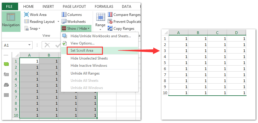 How to limit number of rows and columns in a worksheet in Excel?