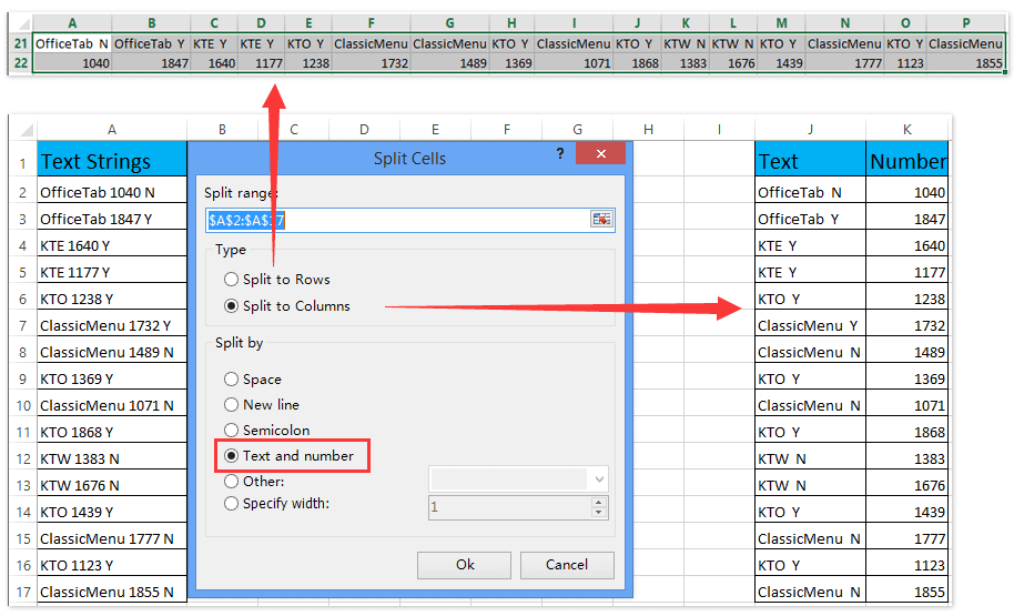 ad split cell separate text numbers