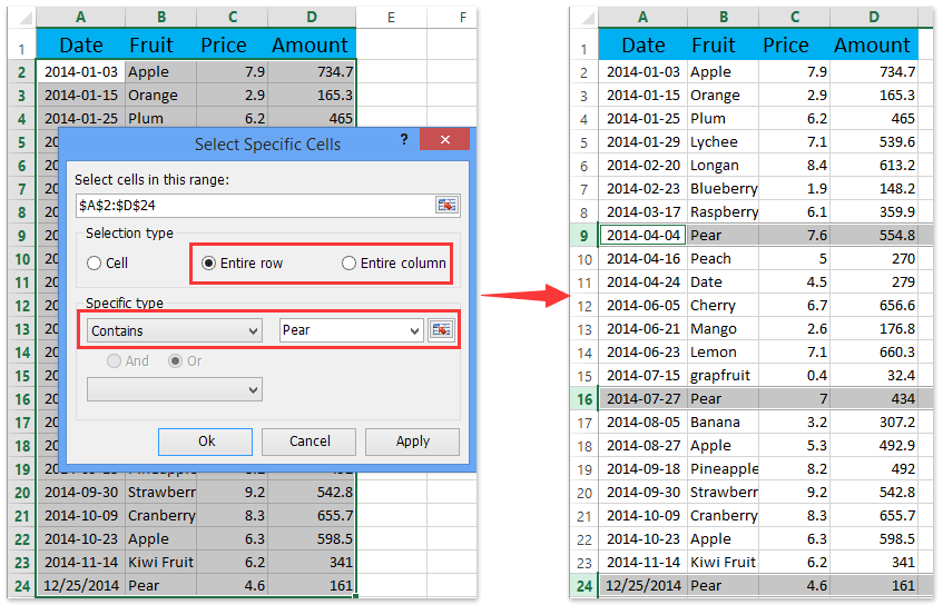 Ad Select Special Cells Entire Rows Columns If Containing Certain Value
