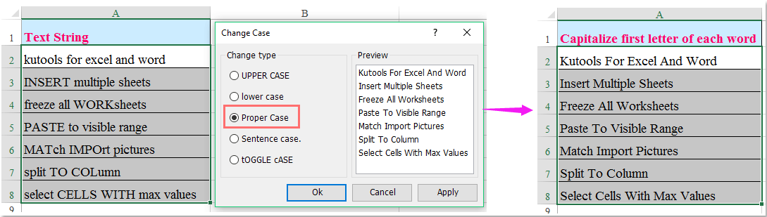 how to get first letter of string in excel