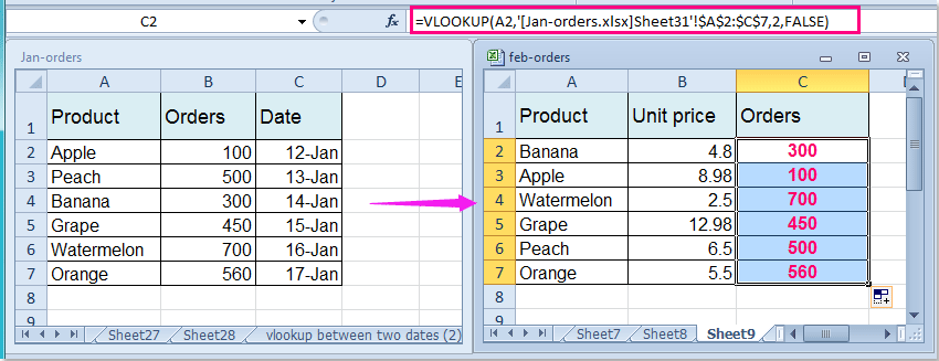 How to use vlookup in excel 2020 from a different sheet