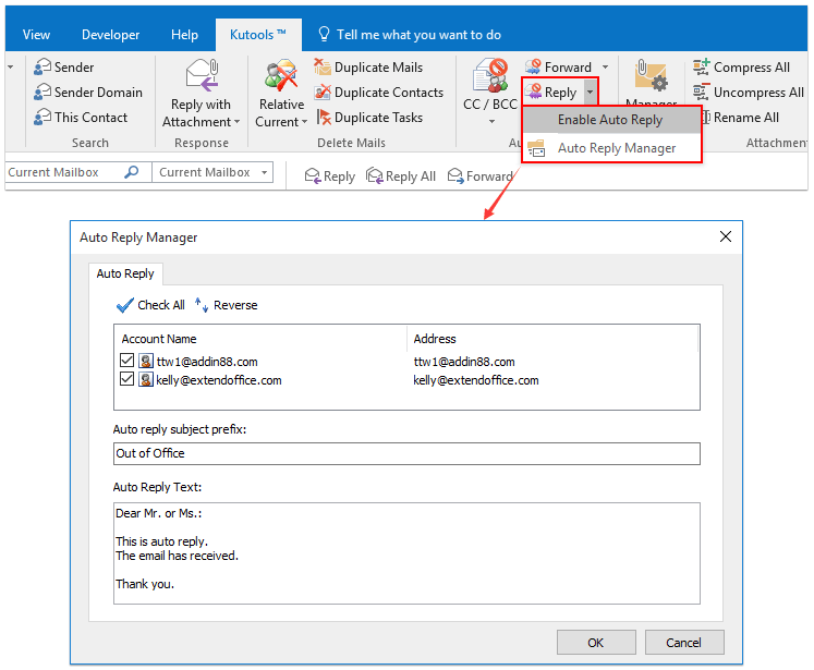 ad auto reply out of office kto 9.00