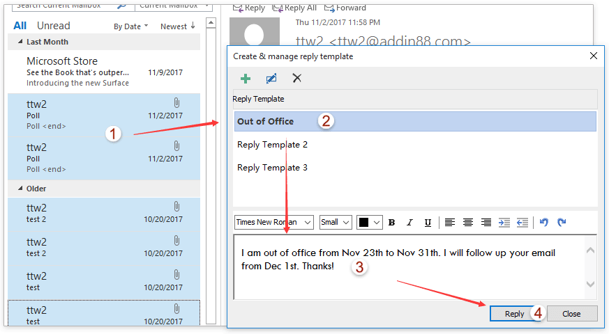 How to reply emails with template text in outlook reply multiple emails with templates pronofoot35fo Images