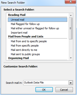How to add unread mails to favorite folder in Outlook?
