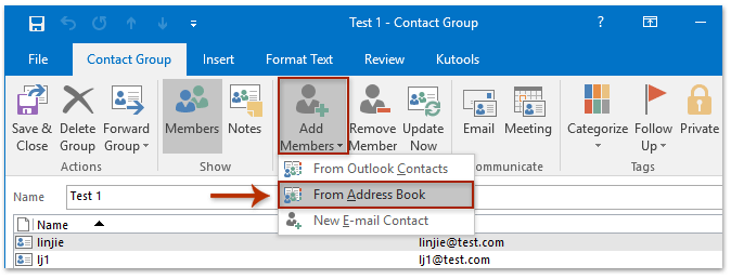 How to add multiple emails senders to distribution list contact in the opening select members dialog box paste the senders address in the members box with pressing ctrl v keys simultaneously and then click the ok thecheapjerseys Choice Image