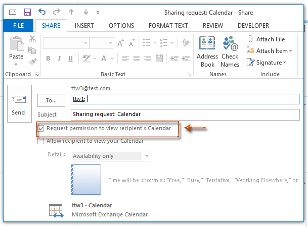 How to ask for accessing others calendar permission in Outlook