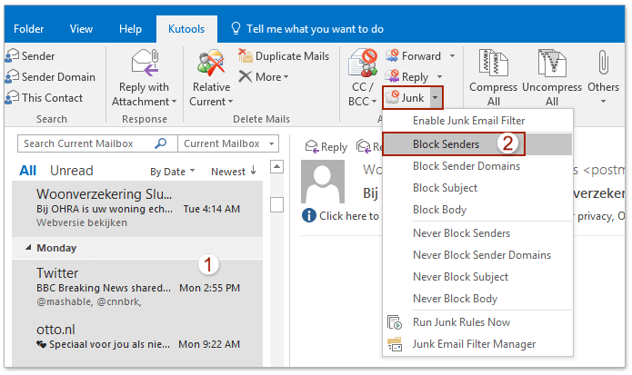 how to add sender to address book in outlook 2010